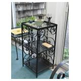Black Wrought Iron 3-Tiered Shelf Unit with Glass Top