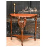 Carved Wood Side Table with Eagle