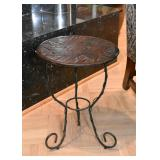 Side Table with Metal Base and Wood Carved Top