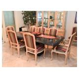 Marble Dining Table & Set of 8 Upholstered Dining Chairs