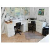 White Laminate Office Desk Units & Chests (Modular Home Office)