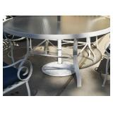 White Metal Outdoor Dining Table (Glass Top), Scroll Arm Chairs with Cushions & Blue Patio Umbrella