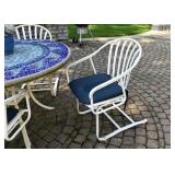 Mosaic Tile Top Patio Dining Table & 4 Chairs with Cushions