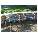 Pair of White Metal Garden Chairs with Cushions