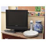 Small TV, Dishes, Blue & White Porcelain Vase