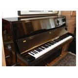 Beautiful Black Lacquer Suzuki Upright Piano with Brass Details (it comes with a piano bench, not sh