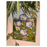 Ceramic / Glazed Tile Wall Hanging (Morning Glories)