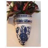Blue & White Pottery Wall Pocket