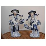 Asian Blue & White Pottery Figurines
