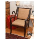 Wood Armchair with Neutral Upholstery