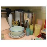Coffee Percolators / Servers, Mixing Bowls, Vintage Plastic Cups