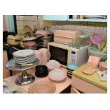 Microwave Oven, Breadbox, Jars, Glassware, Plates & Bowls, Metal Dessert Pedestal / Cake Plate