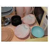 Pink & Teal Shell Luncheon Plates