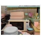 Microwave Oven, Breadbox, Plates, Bowls, Kitchen Utensils