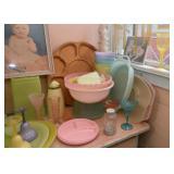 Colorful Plastic Kitchenware & Stemware, Wooden Lazy Susan