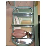Vintage Teal Painted Wall Mirror with Shelves, Vintage Pottery