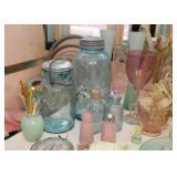 Aqua Ball Jars, Bottles, Vases, Glassware, Stemware, Kitchenware, Etc.