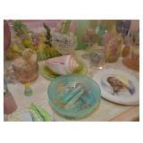 Vintage Pastel Plastics, Glassware & Pottery