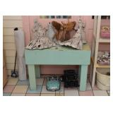 Primitive Teal Painted Table