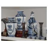 Asian / Chinese Ceramics - Blue & White Vases, Figurine, Studio Pottery Candlesticks
