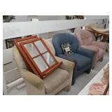 3 Vintage Armchairs, 3 Window Style Wall Mirrors with Shelves