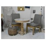 Wooden Bistro Table & 2 Striped Side Chairs