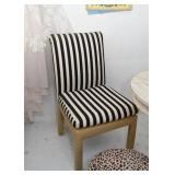 Pair of Black & White Striped Side Chairs