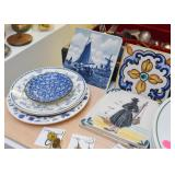 Blue & White Plates, Trivets, Hand Painted Tiles