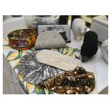 Beaded Evening Bags / Clutches, Silver Sequin Beret