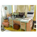 Painted Office Desk, Office Supplies