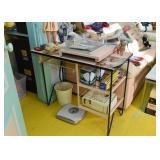 Vintage Metal Desk / Vanity / Table, Bath Scale, Etc.