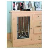 Vintage Sideboard / Cabinet with Leaded Glass Doors