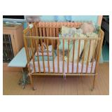 Vintage Baby Crib, Bed Linens, Pillows