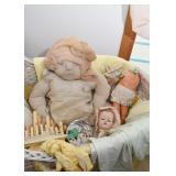 Soft Sculpture Doll, Vintage Doll Parts, Electric Candelabras