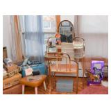 Vintage Brass Vanity Table with Mirror & Chair, Footstool, Toys, Jewelry Boxes, Etc.