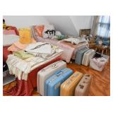 Pair of Twin Beds, Vintage Suitcases, Bed Linens, Fabric, Vintage Lamp Shade, Pillows
