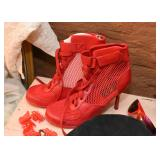 Vintage Red Mesh Lace Up Pumps