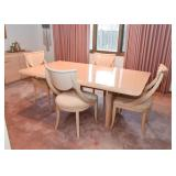 Ello Limed Oak Dining Table & Epos Side Chairs (from Merchandise Mart),includes 1 extra leaf