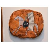 Ceramic Wall Plaque by Glen LaFontaine - Native American on Horse
