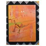 "Framed Original Southwestern Artwork - ""Moon-dog"" mono-floating thirteen, Signed Shoemaker"