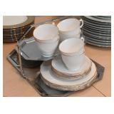 Set of 6 Teacups & Dessert Plates (White with Gold Edge)