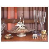 Metal Server, Trinket Boxes, Miniature Stone Elephant, Champagne Glasses