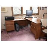 Corner Office Desk, Computer Monitor, Keyboard, Printer