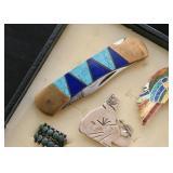 Inlaid Semi-Precious Stone Pocket Knife