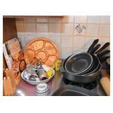 Cookie Press, Pie Tins, Serving Trays, Pots & Pans