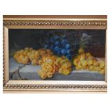 Antique Oil Painting, Still Life with Grapes (Ornate Frame)
