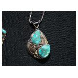 Sterling Silver & Turquoise Pendant Necklace (Tom Willete)