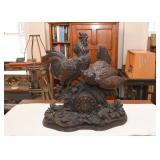 Large Antique Black Forest German Mantle Clock - Carved Wood (Rooster, Hen, Chicks)