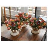Vintage Tole / Toleware Painted Metal Tulip Flower Centerpieces