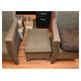 Pair of Wicker Armchairs with 1 Ottoman